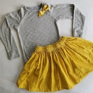 Oshkosh Girls Yellow&Gray L/S Top and Skirt Outfit